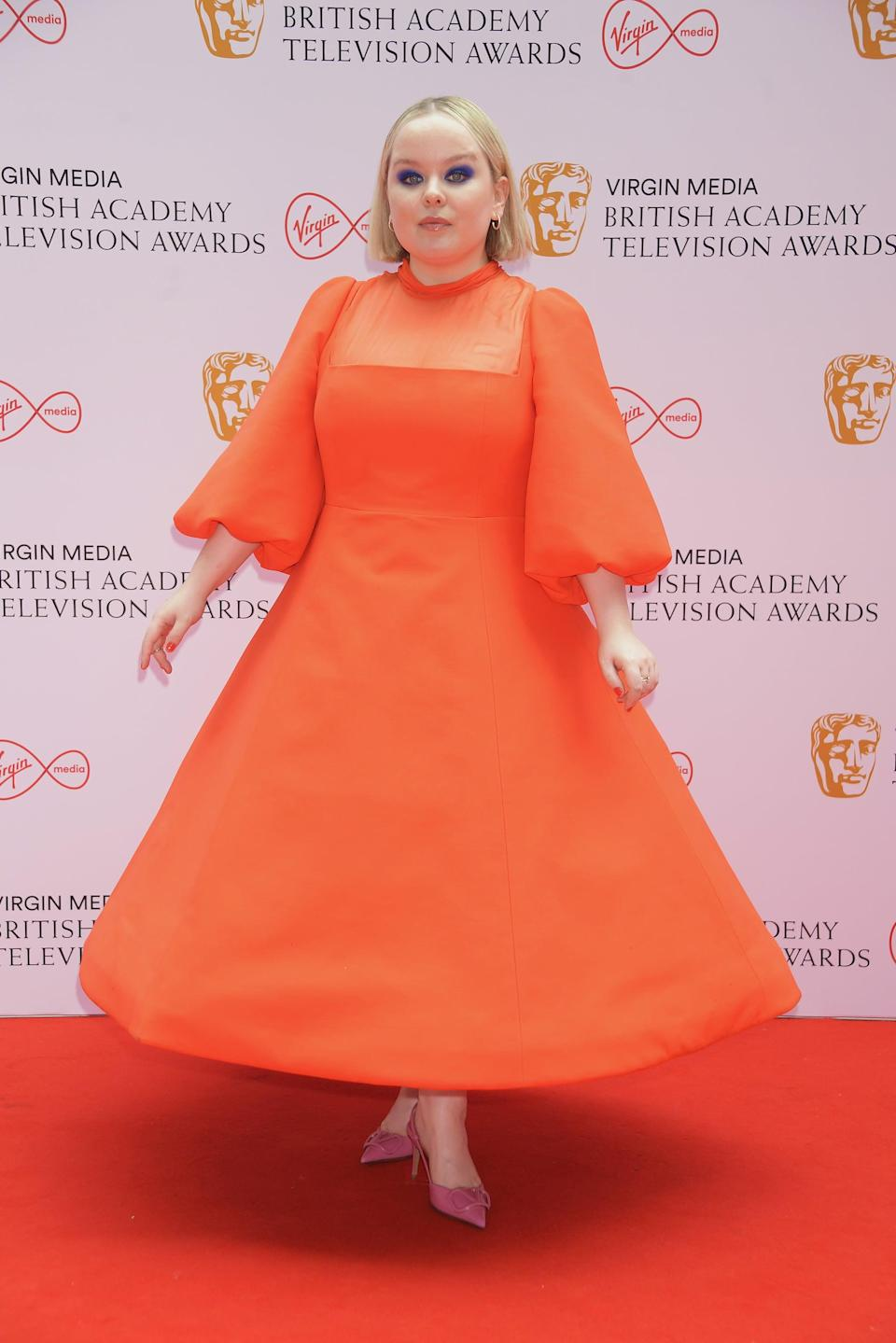 LONDON, ENGLAND - JUNE 06:   Nicola Coughlan arrives at the Virgin Media British Academy Television Awards 2021 at Television Centre on June 6, 2021 in London, England. (Photo by David M. Benett/Dave Benett/Getty Images)