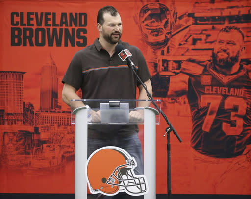 Cleveland Browns' offensive lineman Joe Thomas speaks while bidding farewell to the owners, coaches, staff and fans during a news conference, Monday, March 19, 2018, at the Browns' headquarters in Berea, Ohio. (John Kuntz/The Plain Dealer via AP)