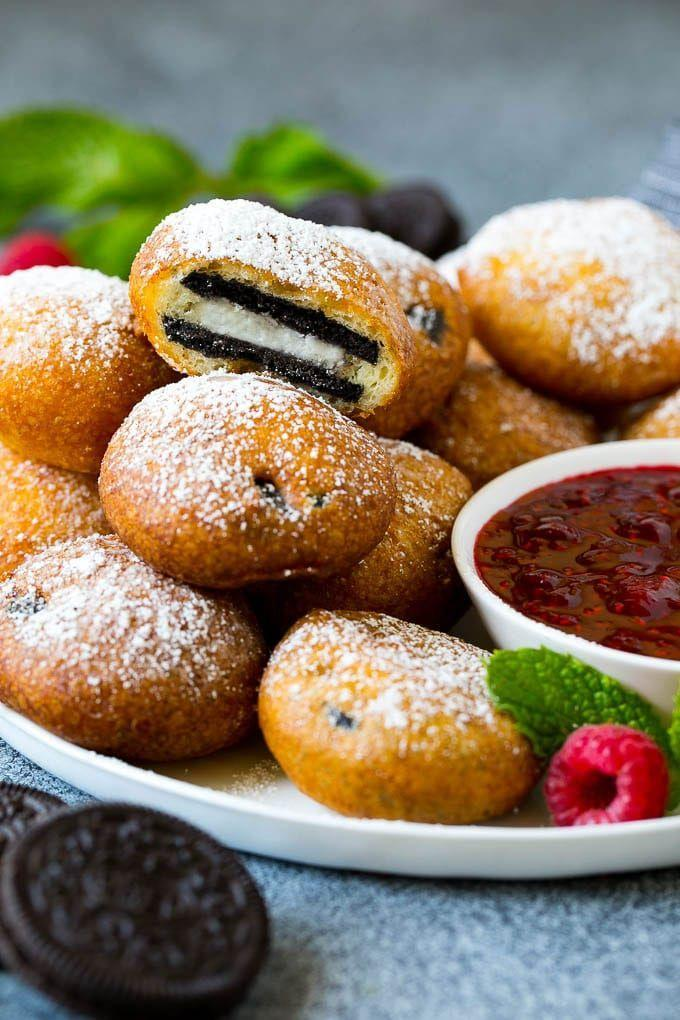 """<p>If you're not afraid of frying, there's nothing quite as satisfying as biting into a chocolate cookie surrounded by a pillowy dough. </p><p><a href=""""https://www.dinneratthezoo.com/fried-oreos-recipe/"""" rel=""""nofollow noopener"""" target=""""_blank"""" data-ylk=""""slk:Get the recipe"""" class=""""link rapid-noclick-resp"""">Get the recipe</a>.</p>"""