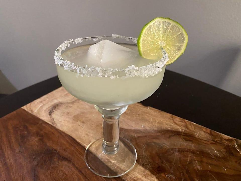 Margarita with salt rim and lime.
