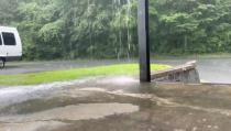 The rain is pictured as Tropical Storm Isaias approaches, Winston Salem