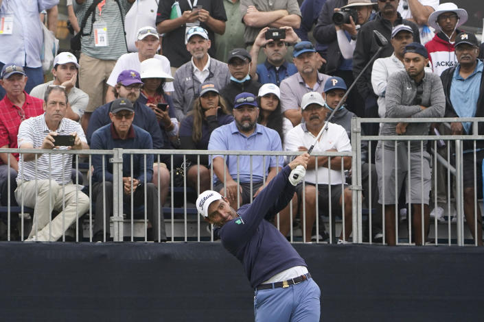 Edoardo Molinari, of Italy, plays his shot from the first tee during the first round of the U.S. Open Golf Championship, Thursday, June 17, 2021, at Torrey Pines Golf Course in San Diego. (AP Photo/Jae C. Hong)