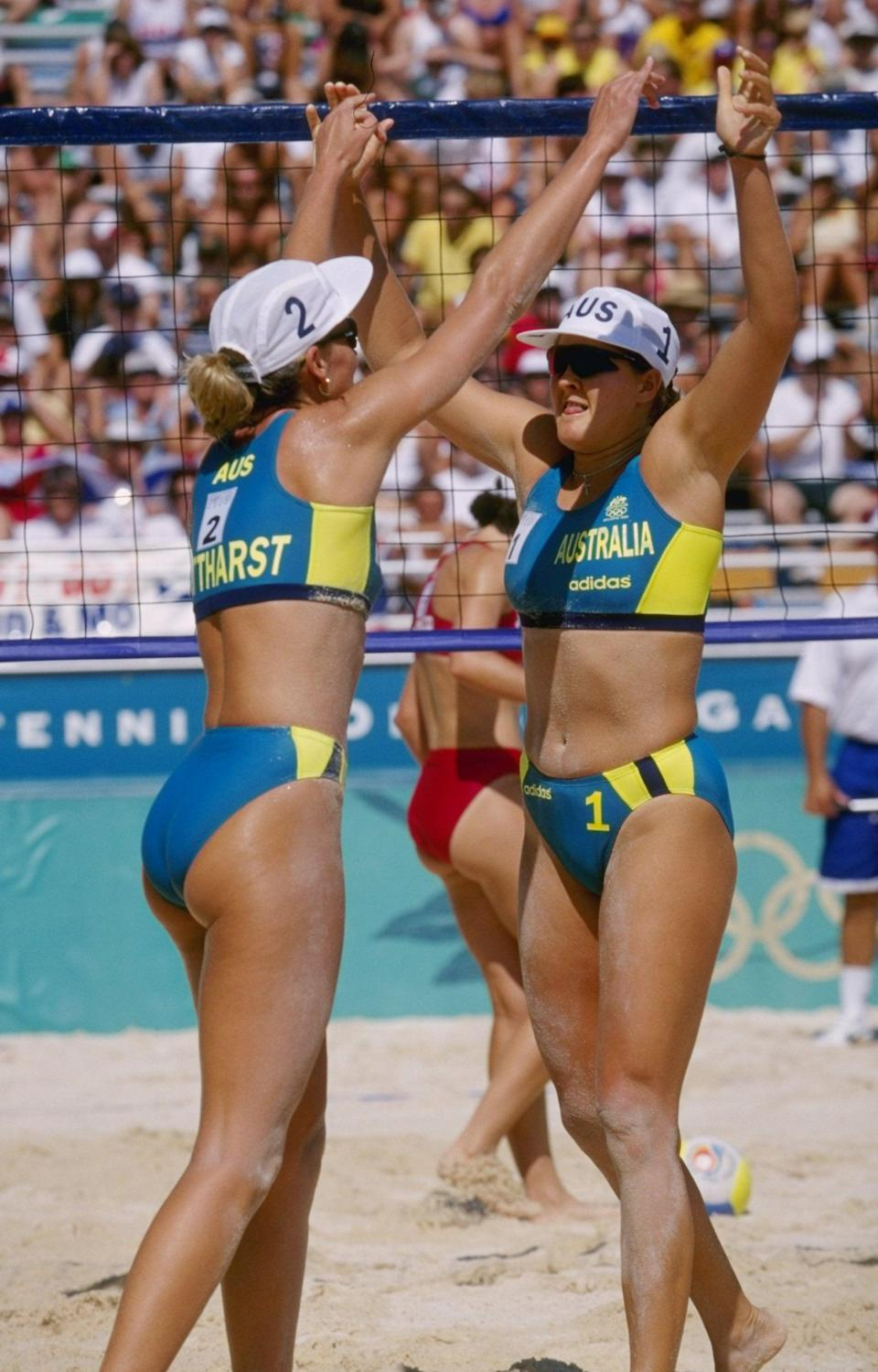 Women playing beach volleyball at the 1996 Olympics (Getty)