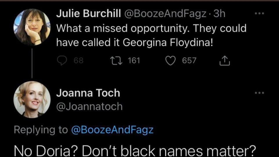 A screenshot of a tweet by former Telegraph journalist Julie Burchill who was fired after posting a 'racist' tweet about Prince Harry and Meghan Markle's daughter, Lili