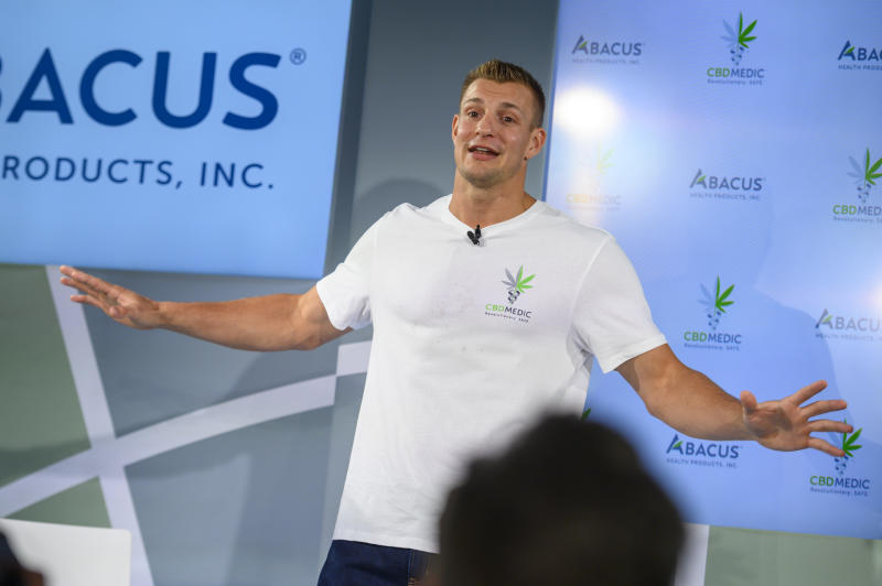 Former New England Patriots tight end Rob Gronkowski holds a news conference announcing his advocacy for CBD and becoming an investor in Abacus Health Products, the maker of CBDMEDIC, Tuesday, Aug. 27, 2019 in New York. (AP Photo/Corey Sipkin)
