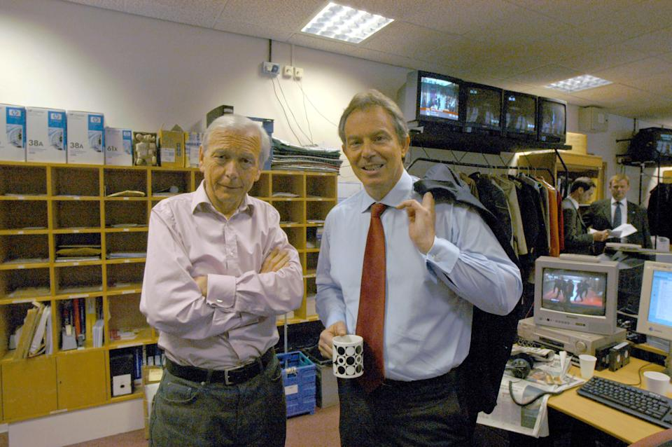 British Prime Minister Tony Blair (right) during an interview with John Humphrys on BBC Radio 4's Today programme, Wednesday May 4, 2005. Mr Blair faced sustained questioning about the Iraq war and its impact on the public's trust in his leadership. (Photo by Jeff Overs/BBC News & Current Affairs via Getty Images)