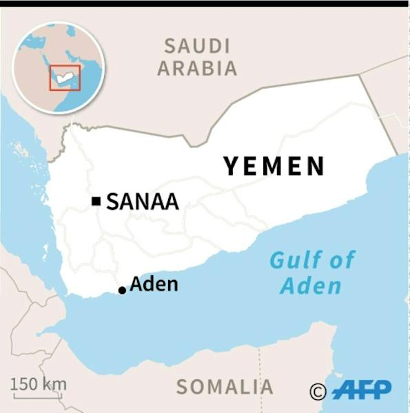 Map of Yemen locating Aden where three separatist fighters were killed Friday in a suicide bombing (AFP Photo/)