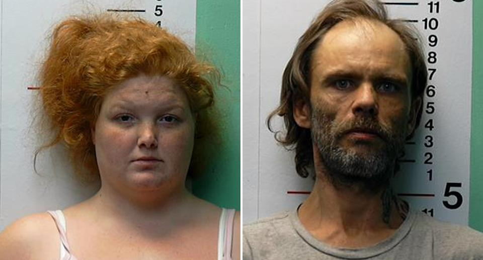 Brittany Gosney, 29, and James Hamilton, 42, are pictured in police mugshots.