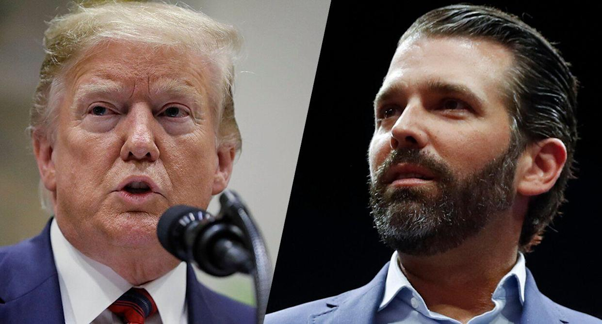 President Trump and Donald Trump Jr. (Photos: Evan Vucci/AP, Paul Sancya/AP)
