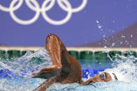 Ahmed Hafnaoui, of Tunisia, swims in the final of the men's 400-meter freestyle at the 2020 Summer Olympics, Sunday, July 25, 2021, in Tokyo, Japan. (AP Photo/Martin Meissner)