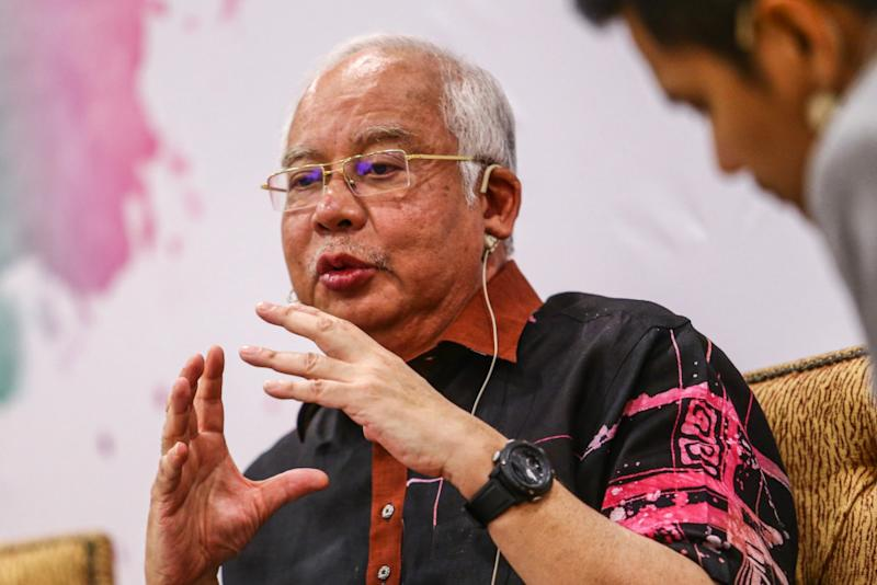 Former prime minister Datuk Seri Najib Razak speaks at the 'Hard Truth: Cash is King' forum in Kuala Lumpur August 7, 2019. — Picture by Hari Anggara