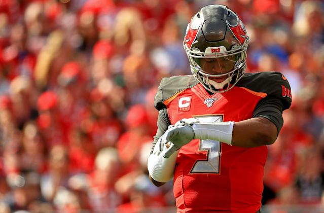 Looking for answers: Jameis Winston threw a game-ending pick-6 on Sunday, his seventh pick-6 this season. (Mike Ehrmann/Getty Images)