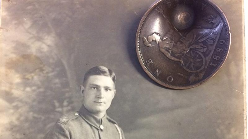 Coin which saved First World War soldier up for auction