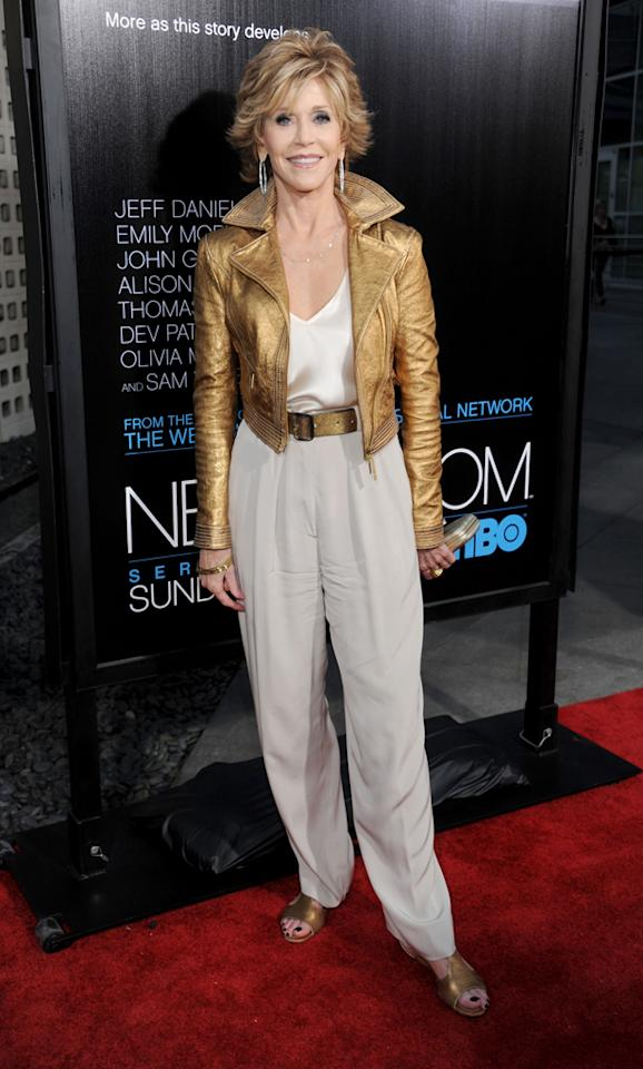 """Jane Fonda arrives at the Los Angeles premiere of HBO's """"The Newsroom"""" at ArcLight Cinemas Cinerama Dome on June 20, 2012 in Hollywood, California."""