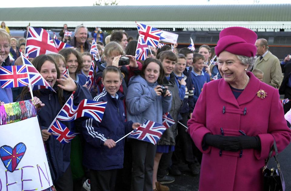 Britain's Queen Elizabeth II smiles at wellwishers as she arrives at Falmouth Station, for the beginning of her nationwide Golden Jubilee tour, which is starting with a two-day visit to the West Country.   *  One of her first engagements Wednesday is the naming of a new lifeboat.  In the coming weeks, the 76-year-old monarch will visit every region of England, Scotland, Wales and Northern Ireland.