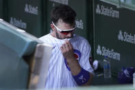 Chicago Cubs' Kris Bryant heads to the clubhouse after a 7-4 loss to the Cincinnati Reds in a baseball game Thursday, July 29, 2021, in Chicago. (AP Photo/Charles Rex Arbogast)