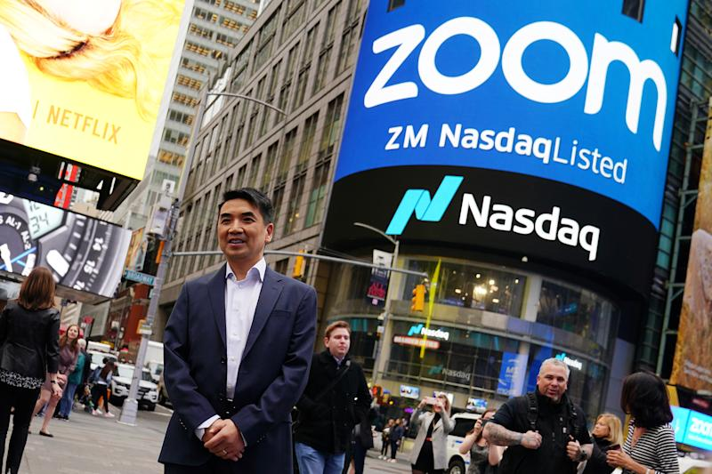 Eric Yuan, CEO of Zoom Video Communications poses for a photo after he took part in a bell ringing ceremony at the NASDAQ MarketSite in New York