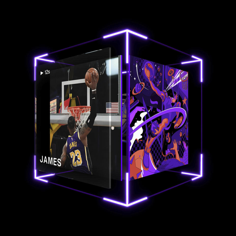 This image provided by Dapper Labs shows a LeBron James digital trading card. Just a few months ago, almost no one would have paid actual money for a digital image that could be copied for free. But sports trading cards have gone convincingly virtual thanks to a clever use of the technology that underlies Bitcoin and similar cryptocurrencies. These virtual collectible cards -- spinning, floating digital cubes that each feature a video highlight of an NBA player. (Dapper Labs via AP)