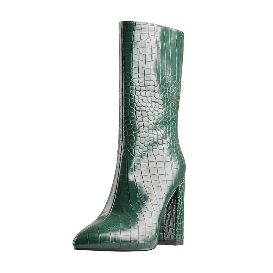 """<br><br><strong>Lishan</strong> Faux Alligator Print Zipper Bootie, $, available at <a href=""""https://amzn.to/3khJEjW"""" rel=""""nofollow noopener"""" target=""""_blank"""" data-ylk=""""slk:Amazon"""" class=""""link rapid-noclick-resp"""">Amazon</a>"""