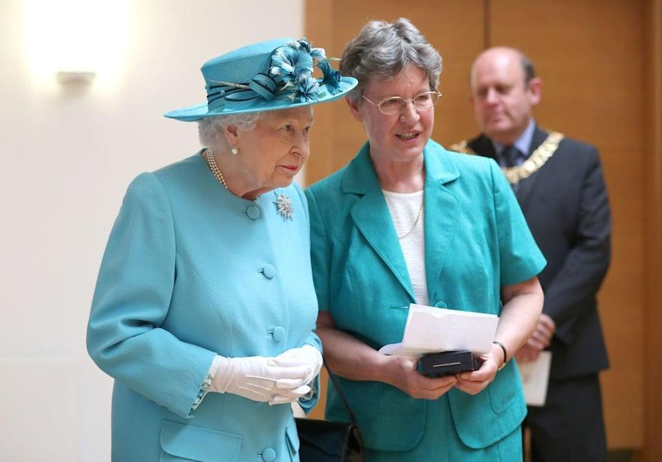 Queen Elizabeth II with Dame Jocelyn Bell Burnell (right) during a visit to the Royal Society of Edinburgh (Jane Barlow/PA)