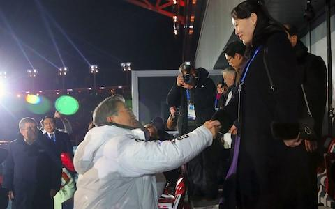 North Korean leader Kim Jong-un's sister Kim Yo-jong shakes hands with South Korean President Moon Jae-in  - Credit: AFP