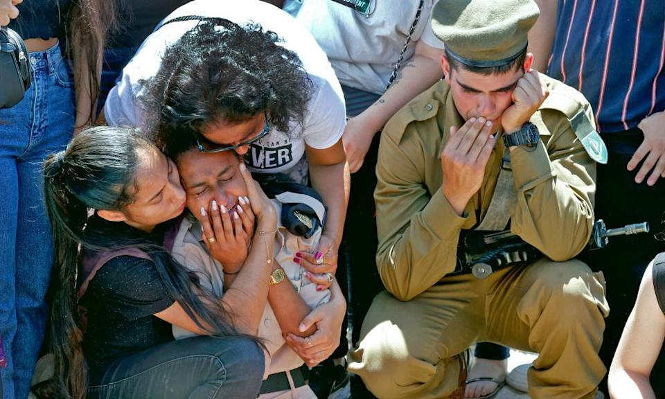 The funeral of an Israeli soldier Omer Tabib, 21, in Elyakim in northern Israel, on May 13.