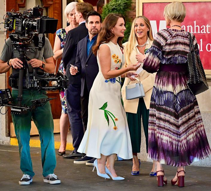 """Mario Cantone, Kristin Davis, Sarah Jessica Parker and Cynthia Nixon seen on the set of """"And Just Like That..."""" the follow up series to """"Sex and the City"""" at the Lyceum Theater on July 24, 2021 in New York City."""