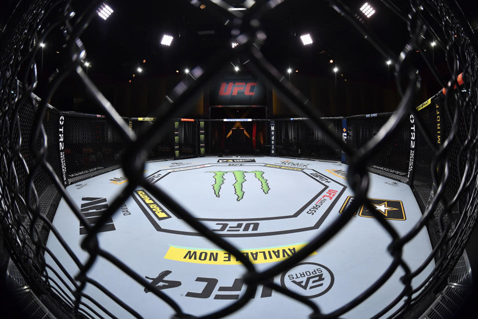 LAS VEGAS, NEVADA - NOVEMBER 21: A general view of the Octagon prior to the UFC 255 event at UFC APEX on November 21, 2020 in Las Vegas, Nevada. (Photo by Jeff Bottari/Zuffa LLC)