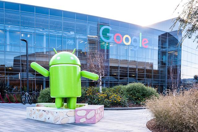 Mountain View, Ca/USA December 29, 2016: Googleplex - Google Headquarters with Android figure