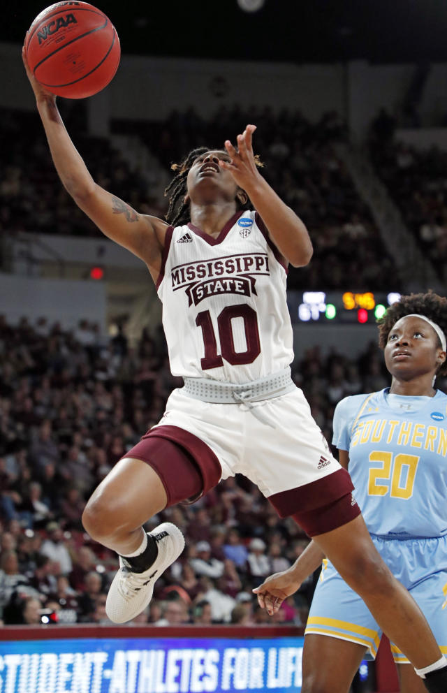 Mississippi State guard Jazzmun Holmes (10) drives past Southern guard Li'Neshon Legard (20) to make a layup during the second half of a first-round game in the NCAA womens college basketball tournament in Starkville, Miss., Friday, March 22, 2019. Mississippi State won 103-46. (AP Photo/Rogelio V. Solis)