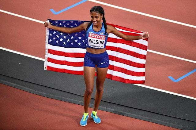 Two-time world indoor runner-up Ajee Wilson won the 800 meters on the opening night of the Boston Games athletics meet (AFP Photo/Antonin THUILLIER)