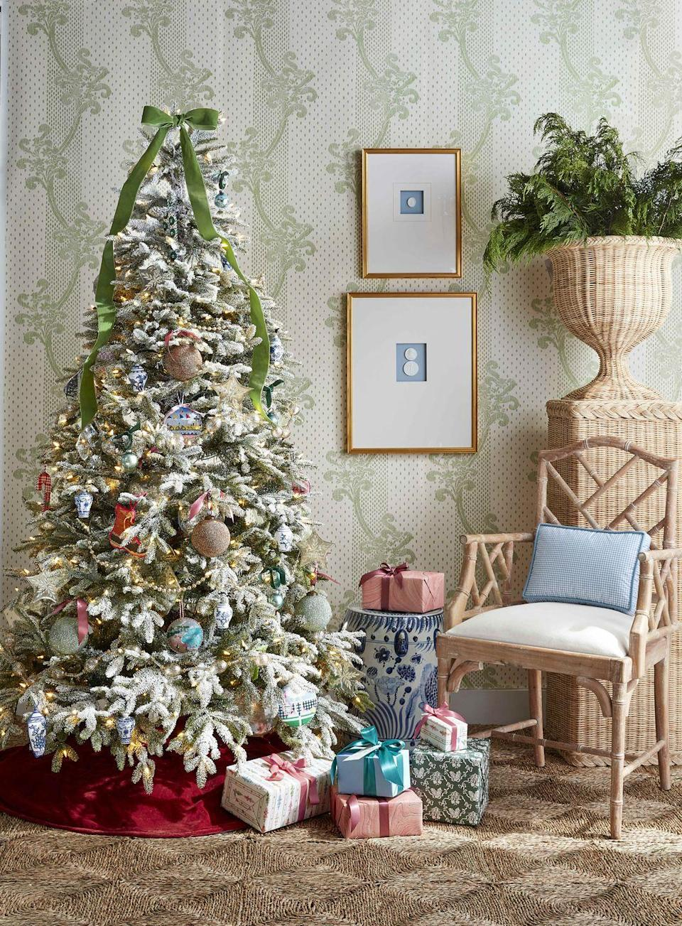 """<p>If the soft tones of pastels and velvet and estate sale–esque heirlooms like mercury glass, ginger jars, and needlepoints make your heart sing, then a grandmillenial-inspired Christmas tree is just what your home needs to feel festive and bright this holiday season. For a prim and proper topper, make a velvet bow from two-inch ribbon. Tie it just as you would shoelaces to evoke an effortlessly chic French-girl vibe. Let the ends flow a third of the way down the tree, and trim at an angle.</p><p><a class=""""link rapid-noclick-resp"""" href=""""https://www.amazon.com/s?k=velvet+ribbon&ref=nb_sb_noss_2&tag=syn-yahoo-20&ascsubtag=%5Bartid%7C10050.g.28703522%5Bsrc%7Cyahoo-us"""" rel=""""nofollow noopener"""" target=""""_blank"""" data-ylk=""""slk:SHOP VELVET RIBBON"""">SHOP VELVET RIBBON</a><br></p>"""