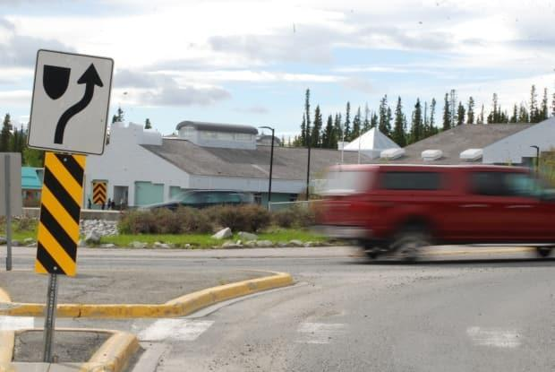 This roundabout outside Elijah Smith Elementary in Whitehorse will soon see brighter paint called zebra markings.