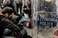 Protester Anastasia Demetriadou was hit by water cannon during a protest in Cyprus' capital this month