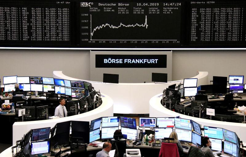 FILE PHOTO: The German share price index DAX graph is pictured at the stock exchange in Frankfurt, Germany, April 10, 2019. REUTERS/Staff