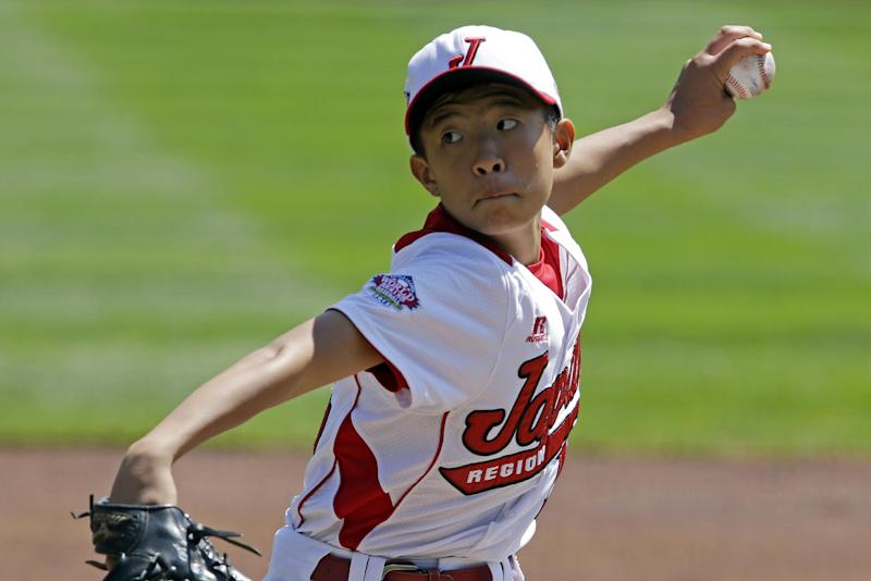 Tokyo, Japan, pitcher Seiya Nishino delivers against Tijuana, Mexico during the first inning of an International Championship baseball game at the Little League World Series tournament in South Williamsport, Pa., Saturday, Aug. 24, 2013. (AP Photo/Gene J. Puskar)