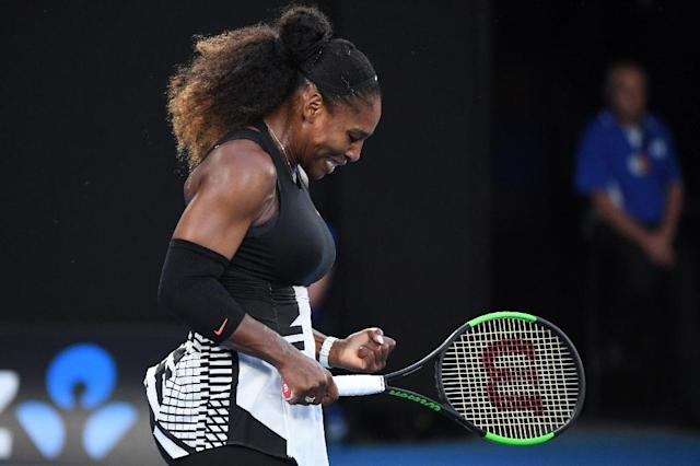 "Serena Williams is expecting a baby and won't play again this year, her publicist said, but ""she looks forward to returning in 2018"" (AFP Photo/WILLIAM WEST)"