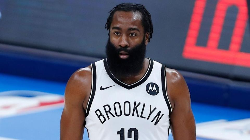 James Harden looking forward white uniform tight shot