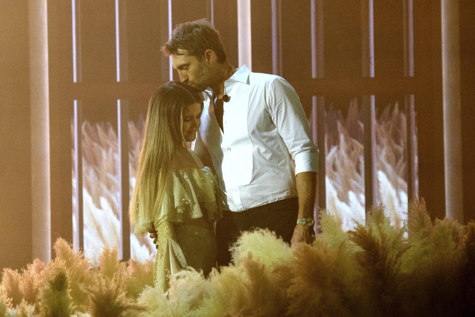 Maren Morris, left, and Ryan Hurd perform at the 56th annual Academy of Country Music Awards on Friday April 16, 2021 at the Ryman Auditorium in Nashville, Tenn. The awards show airs on April 18 with both live and prerecorded segments. (Photo by Amy Harris/Invision/AP)