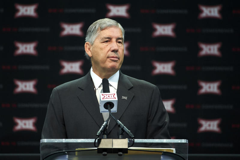 Big 12 commissioner Bob Bowlsby speaks during NCAA college football Big 12 media days in Frisco, Texas, Monday, July 16, 2018. (AP Photo/Cooper Neill)