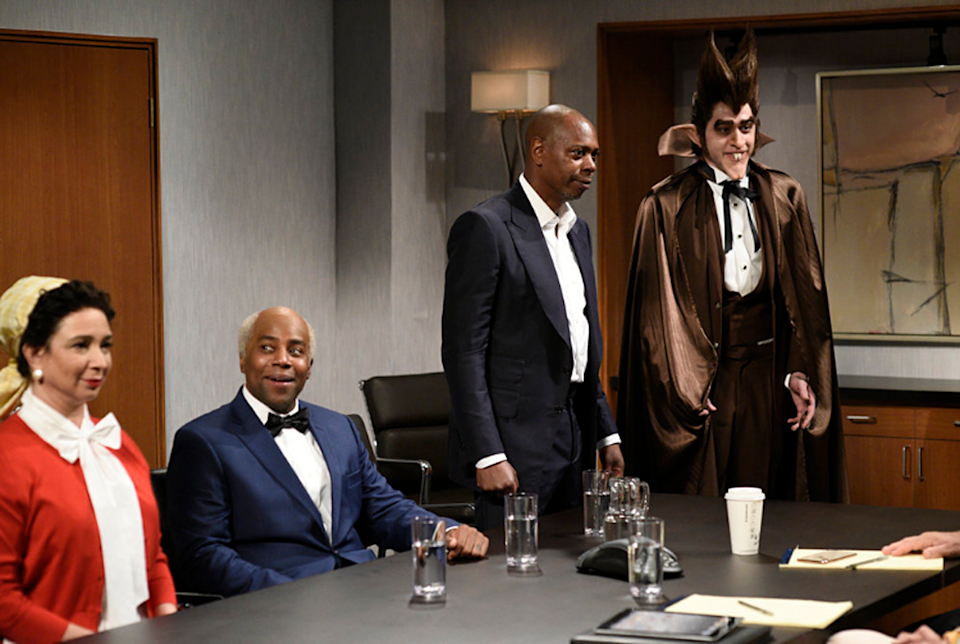"""Maya Rudolph, Kenan Thompson, Dave Chappelle and Pete Davidson on """"Saturday Night Live."""""""