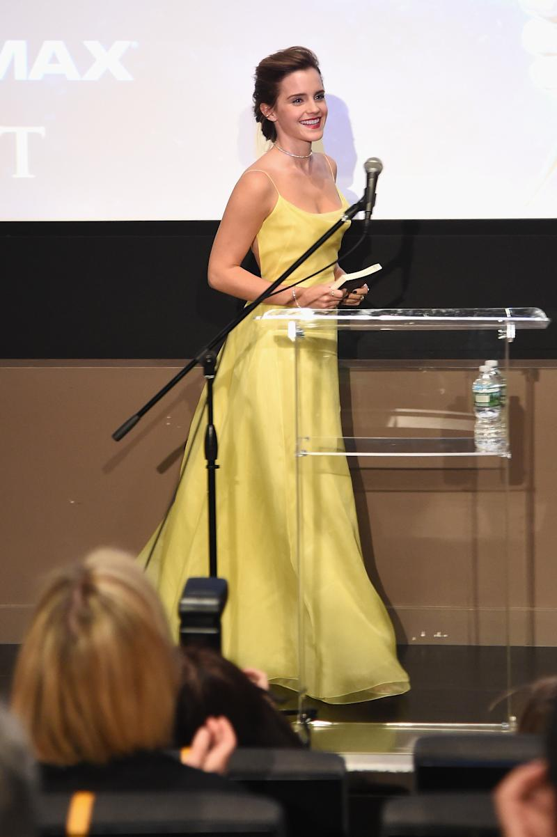 Emma Watson Channeled Belle's Famous Yellow Dress at a Beauty and the Beast Event