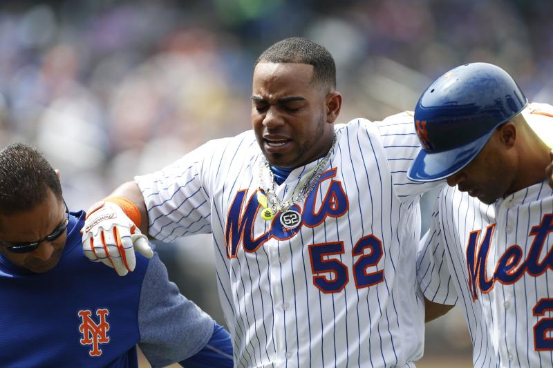 New York Mets left fielder Yoenis Cespedes (52) reacts after an injury in the fourth inning against the Atlanta Braves at Citi Field. (USAT)