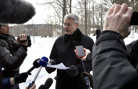 Director General Kimmo Lahdevirta from the Ministry for Foreign Affairs of Finland reads out a press statement concerning the meeting on Northeast Asian issues at the Konigstedt Manor, in Vantaa, Finland March 21, 2018. Lehtikuva/Markku Ulander via REUTERS