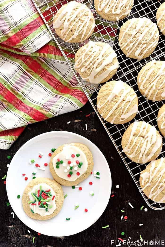 """<p>Who said eggnog is only for the holidays? Extend the season by whipping up a batch of these soft and tender eggnog-flavored cookies. </p><p><a href=""""https://www.fivehearthome.com/eggnog-cookies/"""" rel=""""nofollow noopener"""" target=""""_blank"""" data-ylk=""""slk:Get the recipe"""" class=""""link rapid-noclick-resp"""">Get the recipe</a>.</p>"""