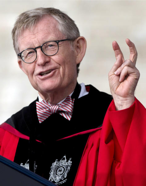 FILE - In this May 5, 2013, file photo, Ohio State president E. Gordon Gee gesturing as he speaks during the university's spring commencement in Columbus, Ohio. Gee is retiring as of July 1 following the revelation of recorded remarks in which he criticized Notre Dame, Roman Catholics and the Southeastern Conference, the university announced Tuesday, June 4, 2013. (AP Photo/Carolyn Kaster, File)
