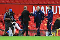 MANCHESTER, ENGLAND - OCTOBER 04: Man Utd manager Ole Gunnar Solskjaer and Spurs manager Jose Mourinho shake hands during the Premier League match between Manchester United and Tottenham Hotspur at Old Trafford on October 4, 2020 in Manchester, United Kingdom. Sporting stadiums around the UK remain under strict restrictions due to the Coronavirus Pandemic as Government social distancing laws prohibit fans inside venues resulting in games being played behind closed doors. (Photo by Simon Stacpoole/Offside/Offside via Getty Images)