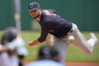 Cleveland Indians starting pitcher Sam Hentges delivers during the first inning of a baseball game against the Pittsburgh Pirates in Pittsburgh, Sunday, June 20, 2021. (AP Photo/Gene J. Puskar)