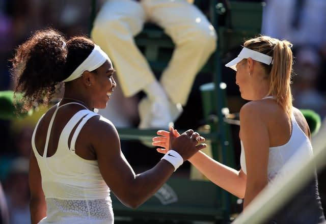 Sharapova and Serena Williams enjoyed a high-profile rivalry (Mike Egerton/PA)