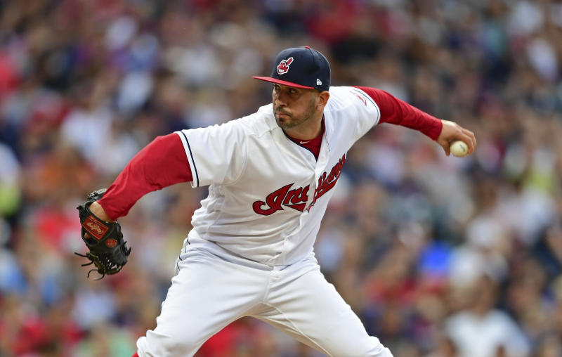 This is what Cleveland Indians relief pitcher Oliver Perez looks like when throwing a pitch. He didn't have to do that during Friday's outing. (AP)